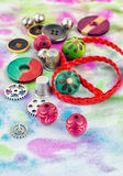 Floss and trinkets for needlework Stock Photo