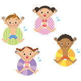 Floss und Kind Stockbilder