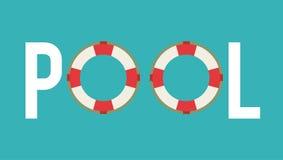 Flossikone Schwimmen- und Pool-Party-Design Dekorativer Hintergrund als stilisiert Strudel der Wellen stock abbildung
