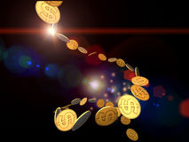 Flot d'or du dollar Photo libre de droits