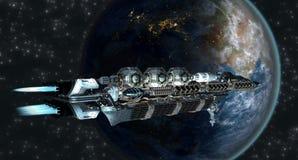 Flota de la nave espacial que llega a la tierra Foto de archivo libre de regalías