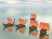 Flota de Vikingo de naves Imagen de archivo libre de regalías