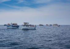Flota pesquera cansada que vuelve Foto de archivo