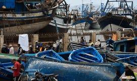 Flota pesquera, Essaouira Marruecos Fotos de archivo libres de regalías