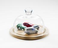 Flota protegida de coches y de vehículos Imagen de archivo libre de regalías