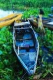 Flotación azul del barco de pesca Imagen de archivo libre de regalías