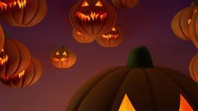 Flotación de la calabaza de Halloween almacen de metraje de vídeo
