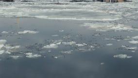 Flotación del hielo en el río de Neva en St Petersburg, Rusia almacen de metraje de vídeo