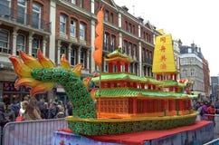 Flotador chino Londres del festival Imagenes de archivo