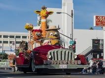 Flotador de conducción animal del estilo del coche del cartón en Rose Parade famosa Foto de archivo