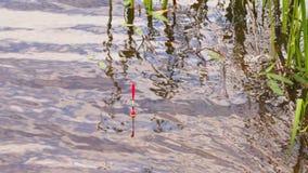 Flotador de la caña de pescar en el agua metrajes