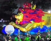Flotador del león en el desfile 2009 de Chingay Imagenes de archivo