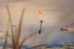 Flotador del pescador en la superficie del agua foto de archivo libre de regalías