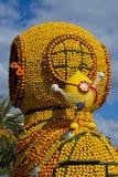 Flotador en el festival del limón de Menton Foto de archivo libre de regalías
