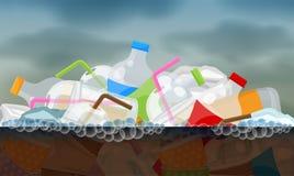 Flotador inútil plástico en la superficie sucia putrefacta del agua, río de la contaminación del ambiente del concepto, basur stock de ilustración