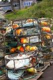 Flotadores anaranjados y amarillos del cangrejo imagen de archivo libre de regalías