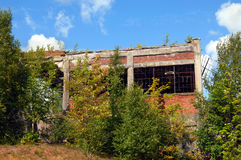 Flotation Building. The Quincy Mill flotation building stands in ruins and overgrown with weeds and bushes. This building is a remnant of the copper mining royalty free stock photos
