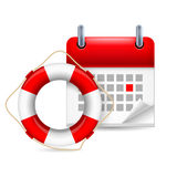 Flotation ring and calendar Stock Photo