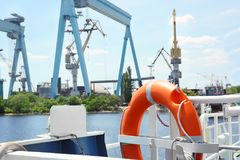 Flotation ring onboard the vessel. In river port royalty free stock photography