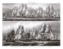 Flotilla of German Warships in Full Sail. An antique print showing a Flotilla of German Warships in 1874. The ships are Corvette class of hybrid steamers and Stock Photo