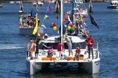 Flotilla for kids. The Flotilla for Kids is held once a year where well over a hundred boats take children for a cruise from the outer harbour to the inner Royalty Free Stock Images