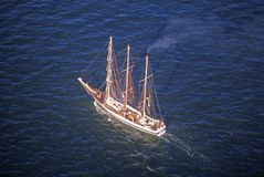 The Flotilla tall ship sailing down the Hudson River during the 100 year celebration for the Statue of Liberty, July 4, 1986 Royalty Free Stock Image
