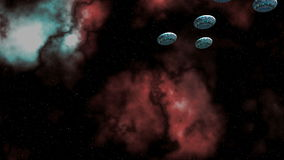 Flotilla UFO. The flotilla UFO slowly flies observing a system. Deep space, stars and nebulas stock footage