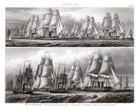 Flotille von deutschen Kriegsschiffen im vollen Segel Stockfoto