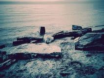 Flotsam на берег Стоковые Изображения RF