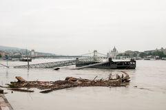 Flotsam and Boat Launch, Budapest Stock Photography