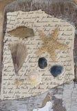 Flotsam on old letter stock photography