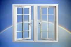 flottörhus modernt fönster för pvc-regnbågesky Royaltyfria Bilder
