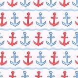 Flott bandankare med den s?ml?sa vektormodellen f?r rep Utdraget hav f?r hand som seglar regattaband ?ver hela tryck f?r nautiskt stock illustrationer