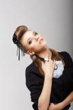 Flott elegant kvinna i moderiktig dräkt. Vogue royaltyfria foton