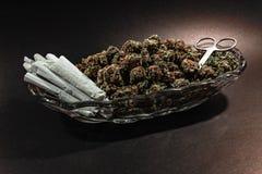 Flott exponeringsglasmaträtt med marijuanaknoppen, sax och dussin skarv arkivbild