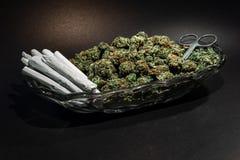 Flott exponeringsglasmaträtt med marijuanaknoppen, sax och dussin skarv arkivbilder