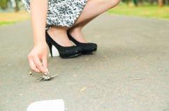 Flott kvinna som bär den trendiga kjolen, och elegant fotografering för bildbyråer