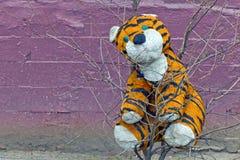 Flott tigerleksak som glömms på ett träd Royaltyfri Foto