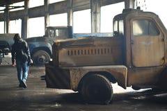 Flotta abbandonata del bus Fotografie Stock