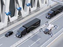 Flotta av amerikanen åker lastbil, lastsurr och flygbilen stock illustrationer