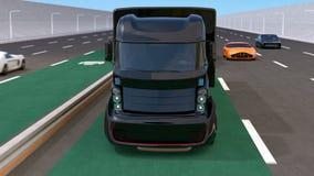 Flotta av den autonoma blanden åker lastbil körning på trådlös laddande gränd lager videofilmer