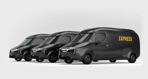 Flotta av svart elkraft drev leveransskåpbilar på grå bakgrund vektor illustrationer