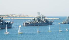 Flotta marina militare del mare di giorno della Russia Immagine Stock Libera da Diritti