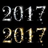 Flotta mousserande eleganta nya år guld- silverdiamant för helgdagsafton 2017 Royaltyfri Foto