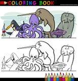 Flotta- och havslivstidsdjur för färgläggning Arkivbild