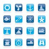 Flotta- och havssymboler stock illustrationer
