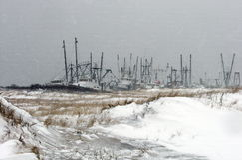 Flotta peschereccia di pesca di pesca di inverno Fotografia Stock