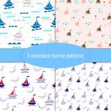 Flotta themed sömlösa modeller för hav, uppsättning av 4 gulliga modeller royaltyfri illustrationer