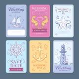 Flotta uppsättning för kort för inbjudan för bröllop för havsresavektor royaltyfri illustrationer