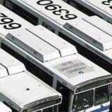 Flotte électrique hybride de bus Photos stock